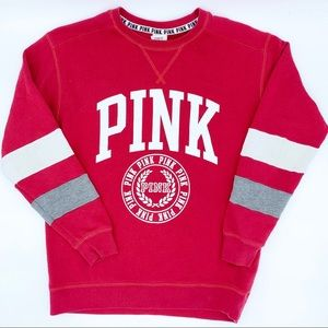 PINK by VS  Red Boyfriend Crew Sweatshirt SZ XS